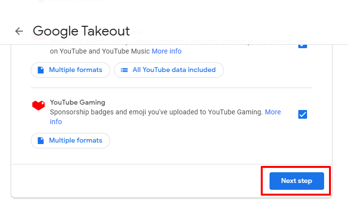 next step google takeout