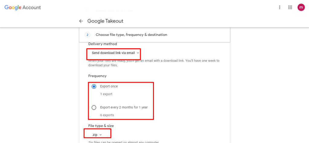2nd step to export data google takeout