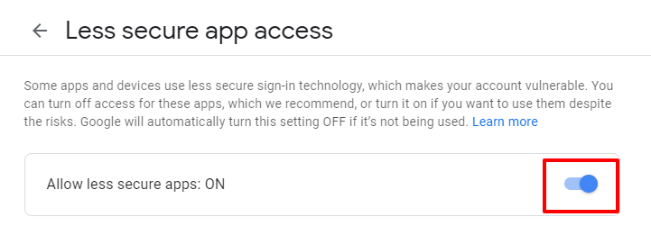 allow access button gmail