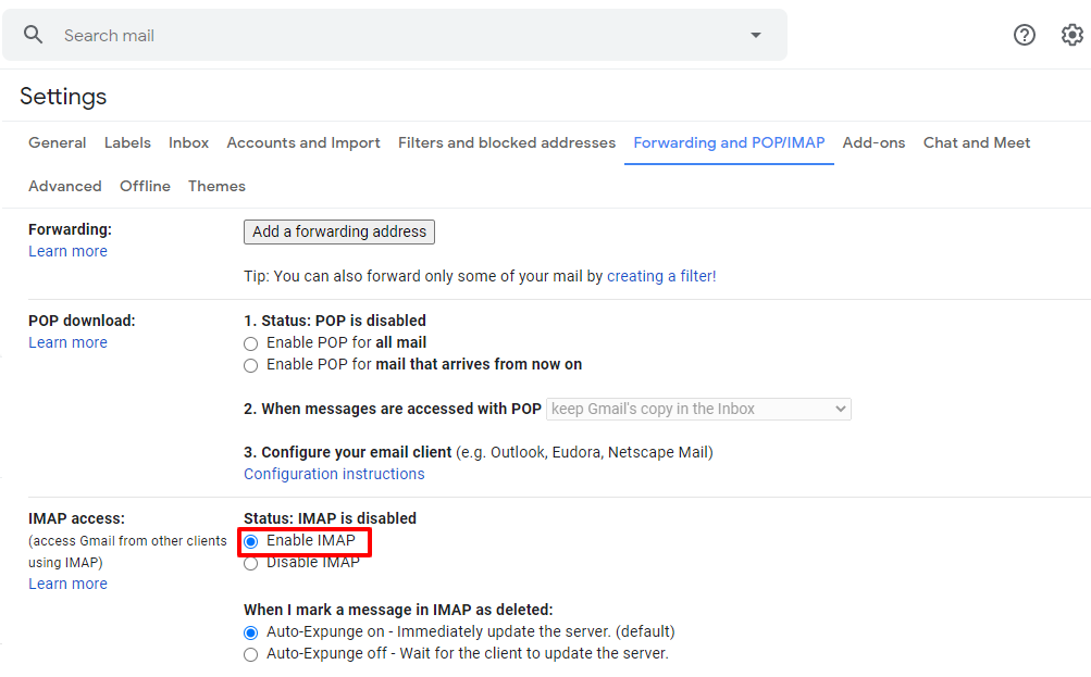 enable IMAP setting Gmail