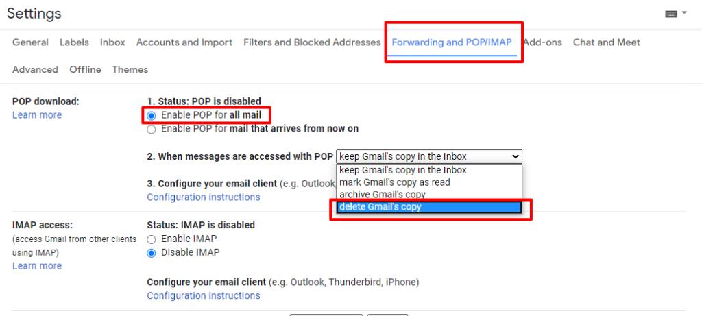 forwarding and POP/IMAP setting