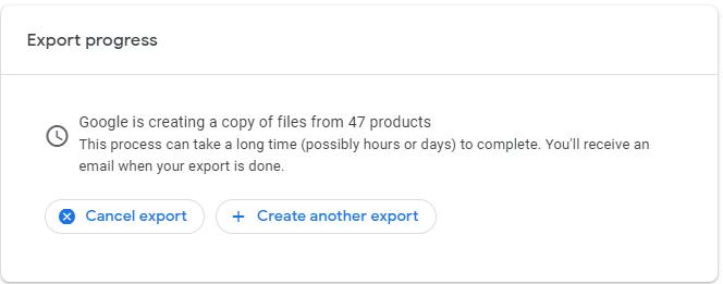 export progress google takeout
