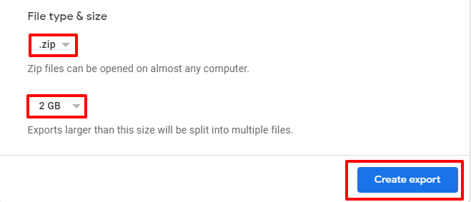 choose file type and file size google takout