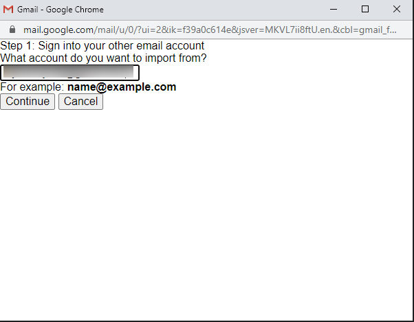 enter import mail input field