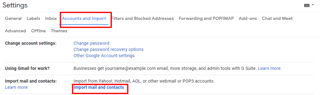 account and import setting gmail