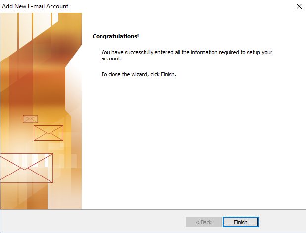 confiuration of MS outlook for gmail successful window
