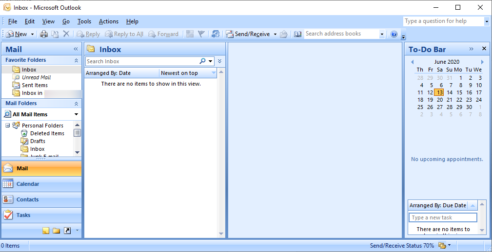 MS outlook window after gmail configuration