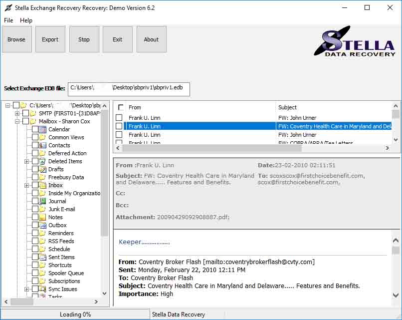 Exchange EDB Server Recovery Software full screenshot